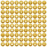 100 totalizator icons set gold. 100 totalizator icons set in gold circle isolated on white vectr illustration Stock Images