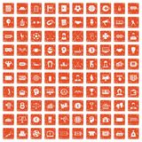 100 totalizator icons set grunge orange. 100 totalizator icons set in grunge style orange color isolated on white background vector illustration Stock Image