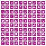 100 totalizator icons set grunge pink. 100 totalizator icons set in grunge style pink color isolated on white background vector illustration Royalty Free Stock Photography
