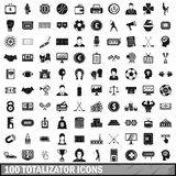 100 totalizator icons set, simple style Stock Photos