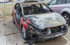Totalled Automobile After Car Fire Royalty Free Stock Photos