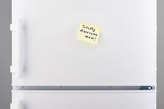 Totally awesome Mom note on yellow paper on refrigerator Stock Photo