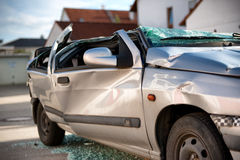 Totally destroyed motor car in an accident Stock Images