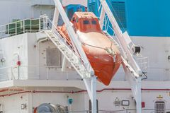 Totally enclosed freefall lifeboat on a downward Royalty Free Stock Photo