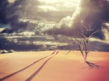 Tote Baum- und Fahrzeugbahnen in der surrealen Wüste gestalten landschaftlich Stockbilder