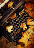 Tote Blätter und Schreibmaschine Stockfoto
