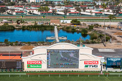 Tote Board and Pond at Del Mar Racetrack Stock Images