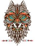 Totem étnico de um lobo Lobo indiano Fotos de Stock