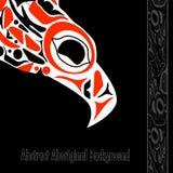 Totem bird indigenous art stylization. On black background with native ornament royalty free illustration