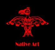Totem bird indigenous. Art stylization on black background with native ornament vector illustration