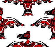 Totem bird indigenous art stylization. On with native ornament seamless pattern Stock Image
