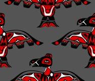 Totem bird indigenous art stylization. On with native ornament seamless pattern vector illustration