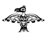 Totem bird indigenous art stylization. On white background with native ornament royalty free illustration
