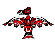 Totem bird indigenous art stylization. On white background with native ornament stock illustration
