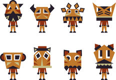 Totem characters. Illustration of 8 totem character Stock Image