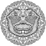 Totem coloring page for adults. The head of a crocodile. Line art Royalty Free Stock Photography