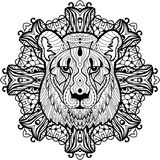 Totem coloring page for adults. The head of a lioness Royalty Free Stock Image