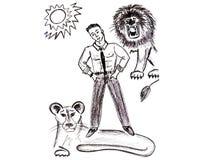 Totem - der Löwe Lizenzfreies Stockfoto