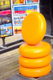 Totem of Dutch cheese on display for customers Royalty Free Stock Photo