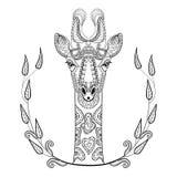 Totem för Zentangle giraffhuvud i ramen för vuxen anti-spänning royaltyfri illustrationer