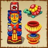 Totem maia, a tartaruga e vaso decorativo ilustração do vetor