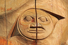 Totem Pole. Close-up of Native American Wooden Totem Pole Carving Royalty Free Stock Photos