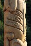 Totem Pole. Close-up of Native American Wooden Totem Pole Carving Royalty Free Stock Image