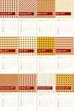 Totem pole and buddha gold colored geometric patterns calendar 2016. Totem pole and buddha gold geometric patterns calendar 2016 Royalty Free Stock Photos