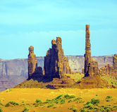 The Totem Pole Butte is a giant sandstone formation in the Monum Royalty Free Stock Photography