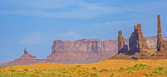 The Totem Pole Butte is a giant sandstone formation in the Monument valley stock photo