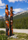 Totem Pole, Canada. Colorful indian totem pole in landscape, Canada Stock Image