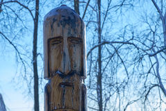 Totem pole in city Park. Horizontal image of the totem pole close-up Royalty Free Stock Photography
