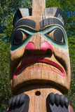 Totem Pole Close up. In North America, totem poles are part of the cultures of many indigenous peoples of Alaska, British Columbia and the Pacific Northwest stock photos