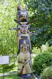 Totem pole of Cowichan people, totem pole of native canadian indians Royalty Free Stock Image