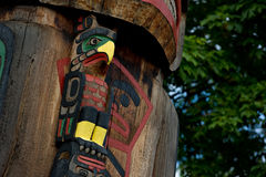 Totem Pole Detail Duncan, British Columbia, Canada Stock Images