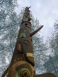 Totem pole for Native American tribute in Seattle Royalty Free Stock Image