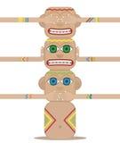 Totem Pole. The three wise monkeys. Mizaru, covering his eyes, sees no evil. Kikazaru, covering his ears, hears no evil. Iwazaru, covering his mouth, speaks no Stock Photo