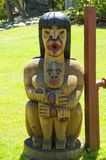 Totem pole,  totem pole of canadian indians Stock Photos