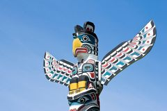 Totem Pole Vancouver. Top section of a totem pole in Vancouver, BC