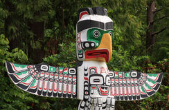 Totem Pole in Vancouver BC. A native totem pole in Vancouver BC Canada home of the 2010 Olympics royalty free stock photo