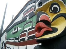 Totem pole Victoria. A close-up of a totem pole in Victoria, BC Stock Photo