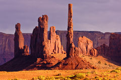 Totem Pole and Yei Bi Chei in Afternoon Light Stock Photography