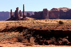 Totem Pole and Yei Bi Chei in Monument Valley Royalty Free Stock Image
