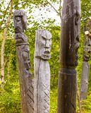 Totem poles of the aborigines of Kamchatka: Itel`men and Koryak. Stock Photography