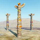 Totem Poles. Computer generated 3D illustration with Totem Poles Stock Images