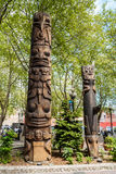 Totem poles on Pioneer Square, Seattle, WA Royalty Free Stock Image