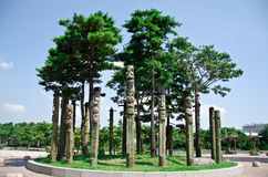 The totem poles in Pyeonghwa park - Seoul. The totem poles in Pyeonghwa park, Korean totem poles, South Korea Stock Photography