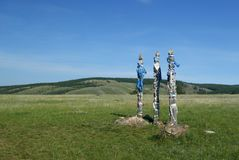 Totem poles `sergė` in the steppe on the Olkhon island Royalty Free Stock Image