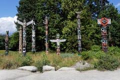 Totem Poles in Stanley Park Stock Image