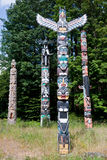 Totem Poles in Stanley Park Stock Photography